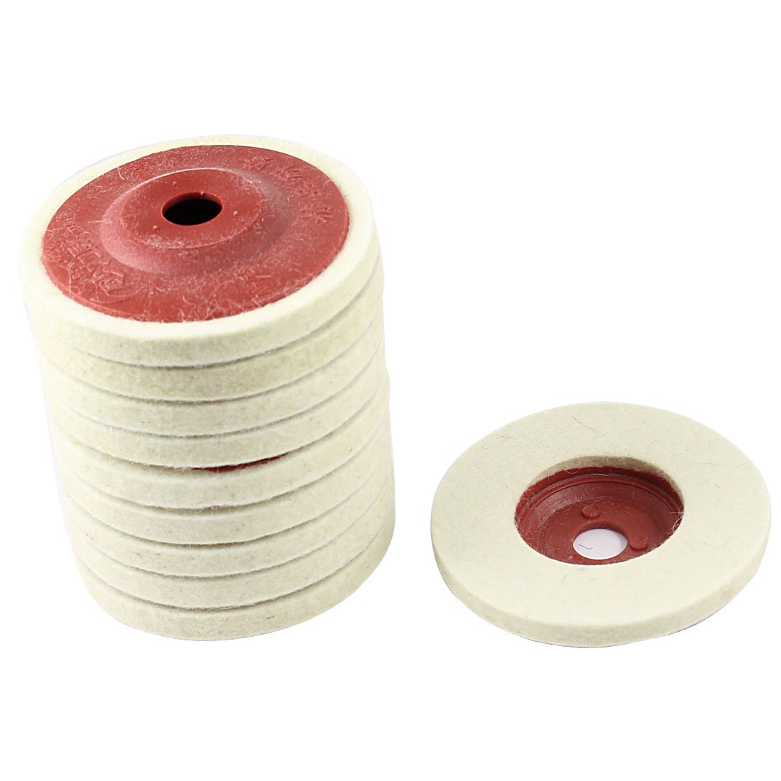 uxcell 10 Pcs 100mm Outer Dia Metal Polishing Grinding Wheel Disc Red Beige