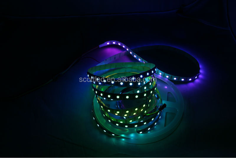 APA102 led strip lights price in india, 60LEDs/m with 60pcs WS2801 IC built-in the 5050 SMD RGB LED Chip;DC5V, White PCB