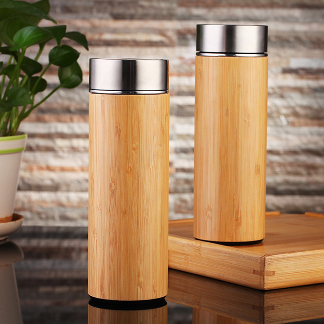 Wholesale 500ml Straight Thermos Bamboo Cups With 304 Stainless Steel Liner