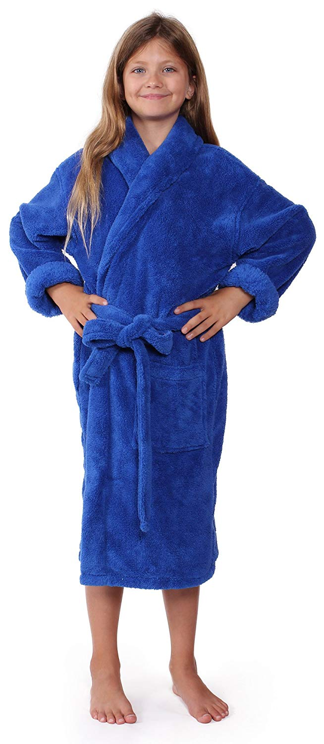 Get Quotations · Plush Fleece Kids Bathrobe With Shawl Collar For Girls and  Boys 2d9f51072