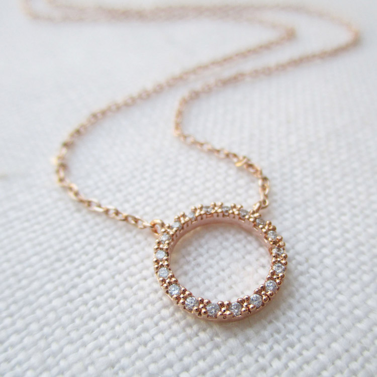 Simple Rose Gold Eternity, Circle, Ring Necklace, CZ necklace bridesmaid gift LYN0066
