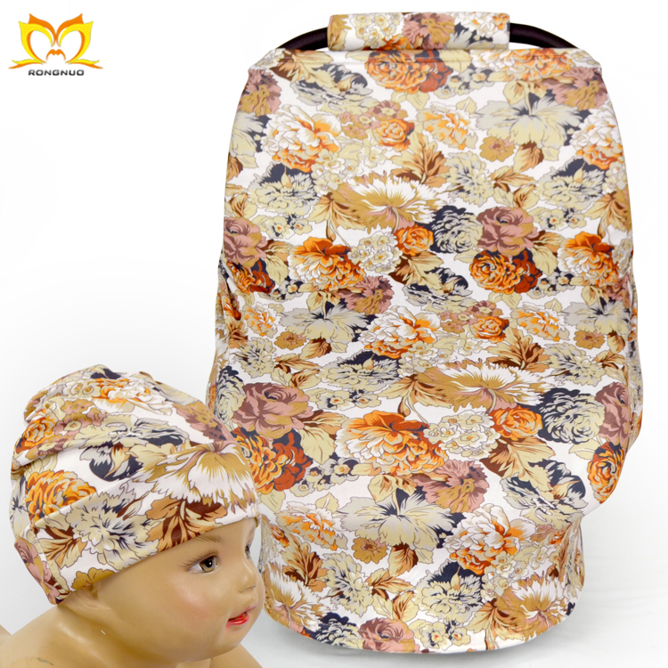 Vintage Newborn Flower Printed Universal Milk Silk&Suede Baby Car Seat Cover In Carriers