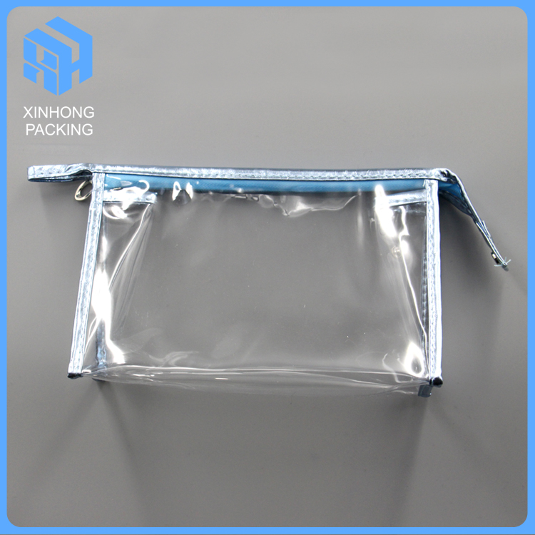 Zip lock pvc cosmetic pouch/plastic bags with zippers/sewing pvc travelling bag
