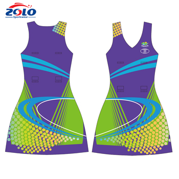 Factory latest style 100% polyester sublimation netball jersey
