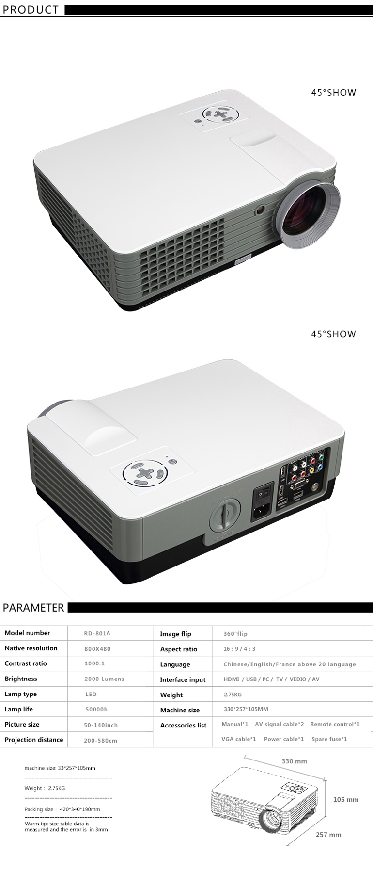 RD-801A Low Cost 800*480 Android 4.2 Projector LED 3D Home Theater Projector