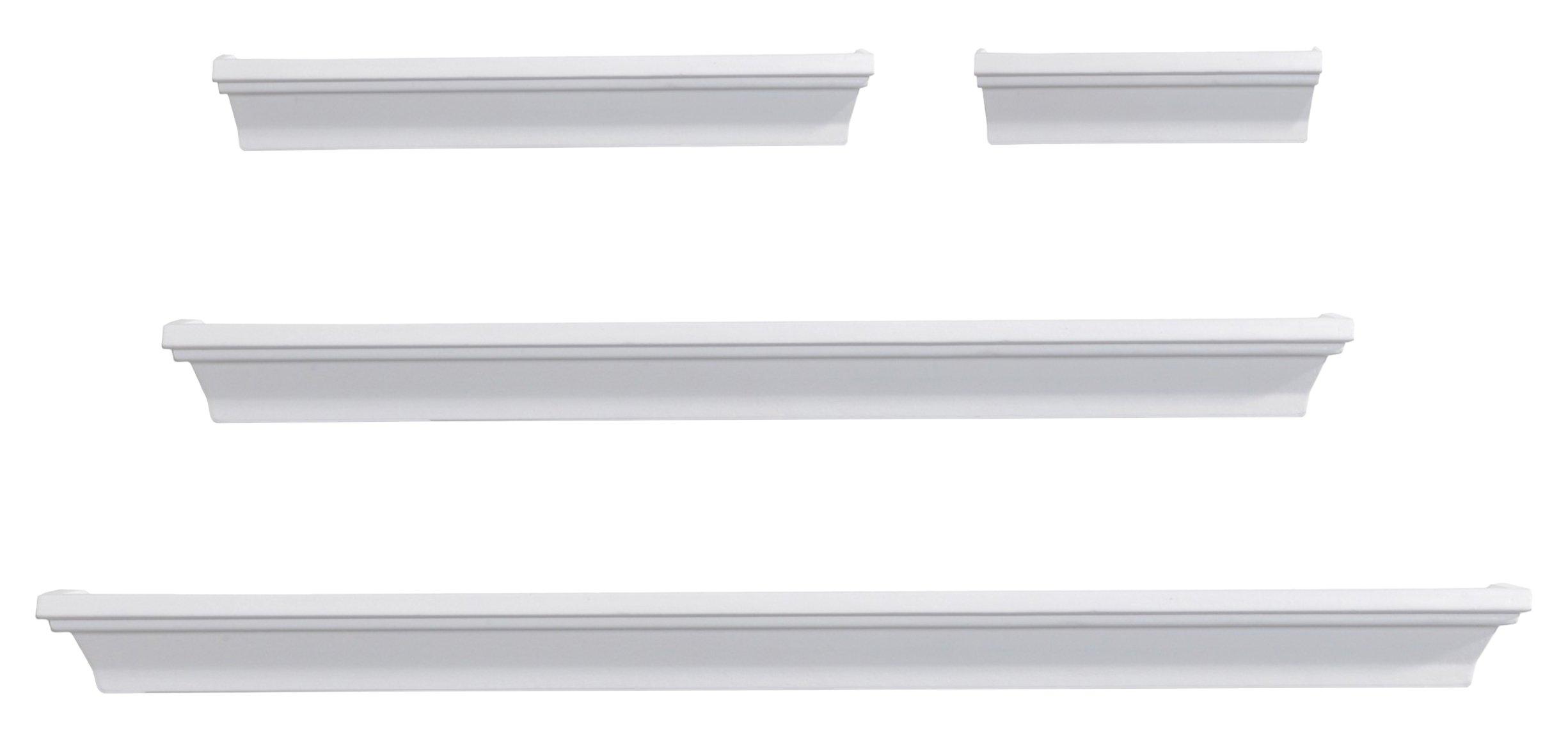Melannco Wall Shelves, Set of 4, White