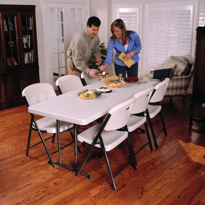 Get Quotations · Lifetime 6u0027 Adjustable Height Folding Table, 4 Pk   Almond  Finish