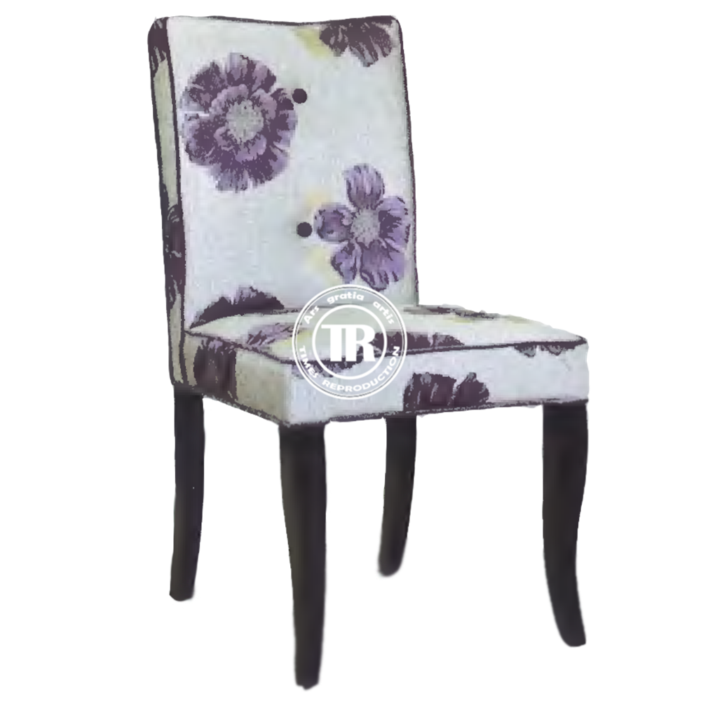 Modern embroidered camelback chair,oak wood side dinning chair,square back fabric upholstered dining chair