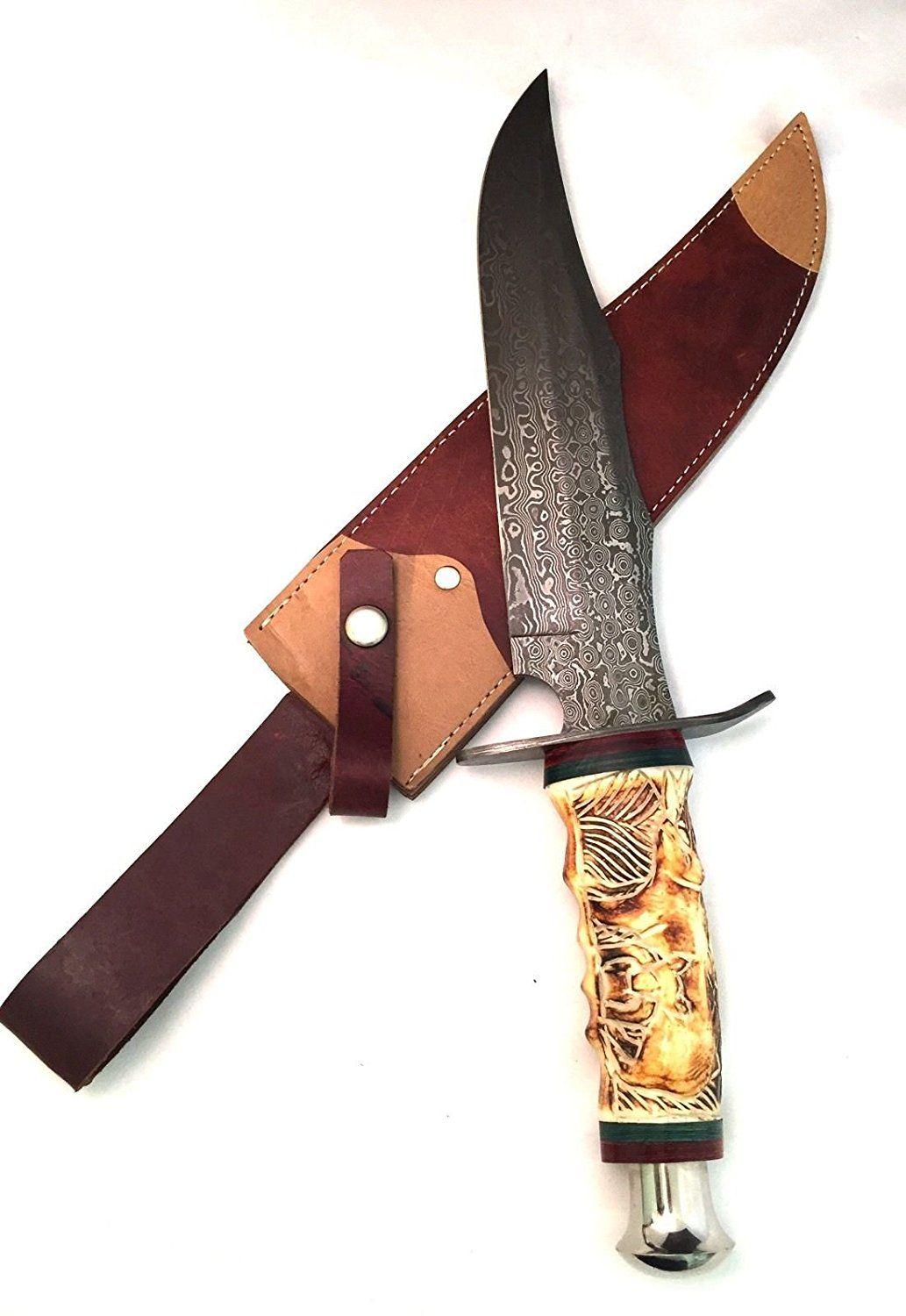 Buy Hand Made Damascus Steel Hunting Knife With Hand Carved Camel Bone Handle In Cheap Price On Alibaba Com