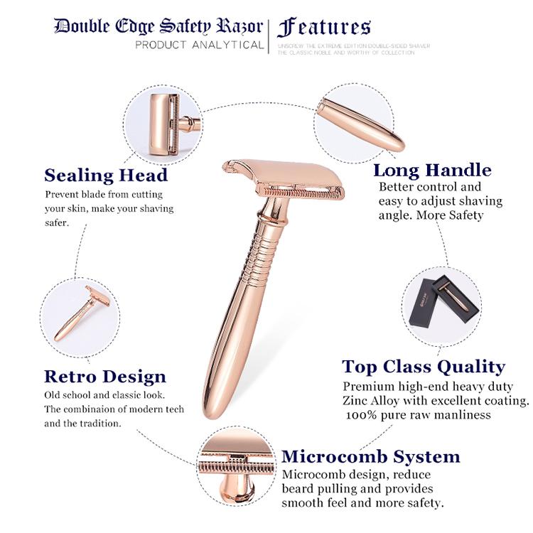 Classic eco friendly double edge safety razor rose gold shaver for women with premium razor blades OEM