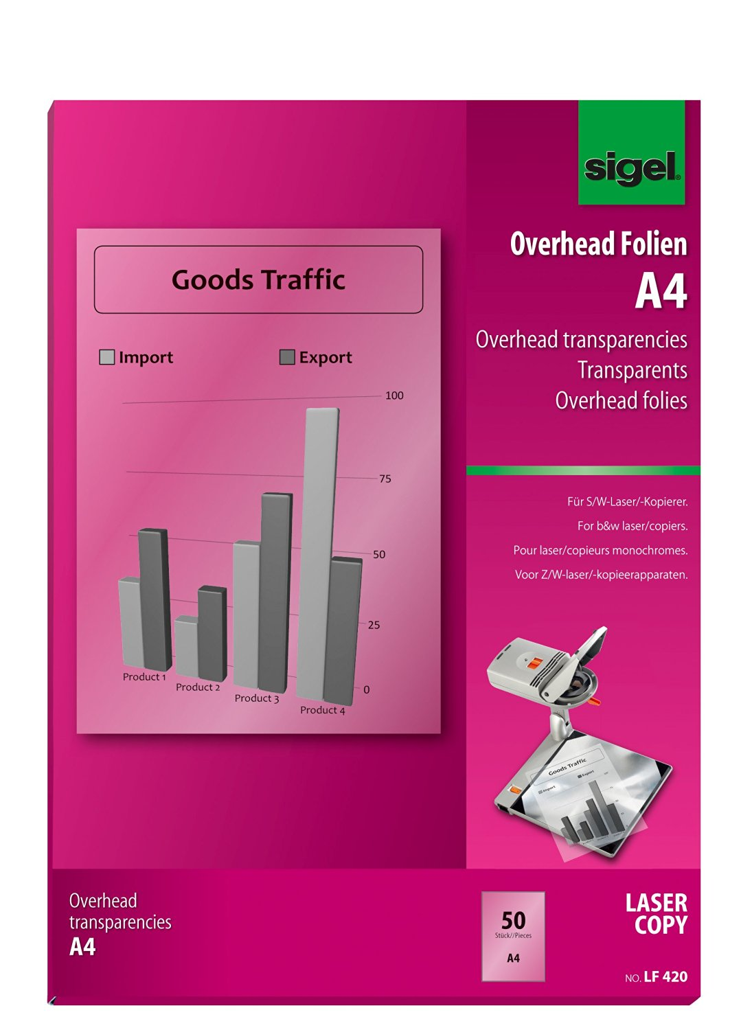 Sigel LF420 Transparency Film for Laser/Copier B&W, clear, 100 mic, A4, 50 sheets