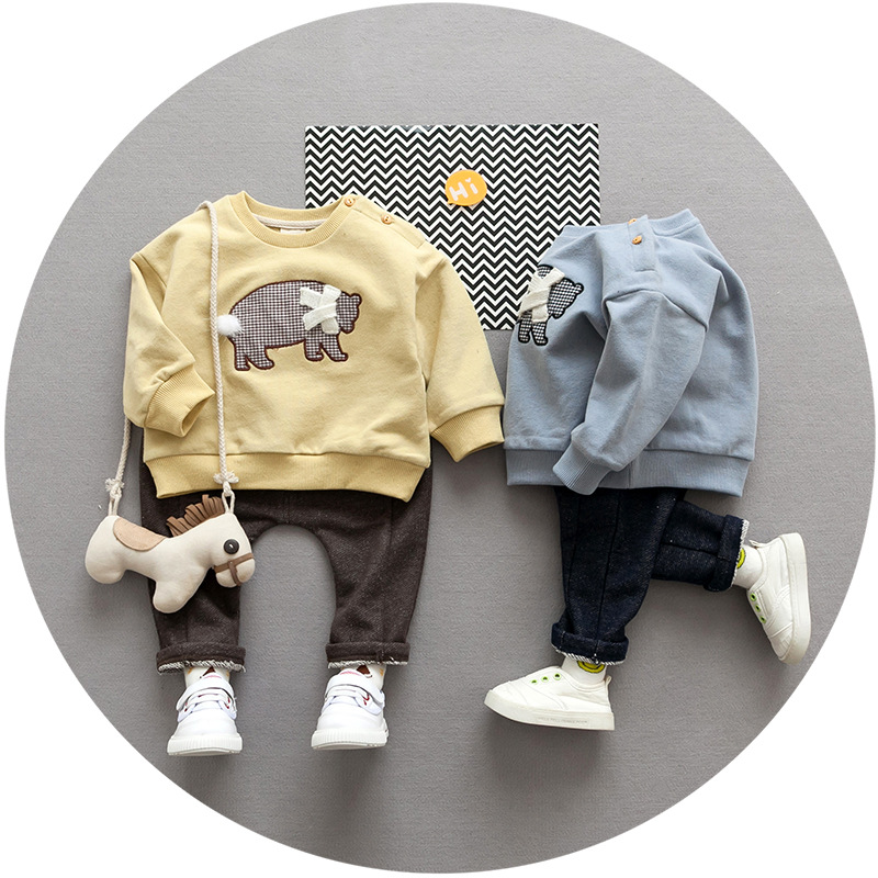 S17959A Kids Fashion 2017 Autumn Baby Boy Clothes Tops+Pants Outfits