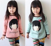 Girls t shirt cartoon girl shinning girl baby girls bow long sleeve children s clothing Autumn