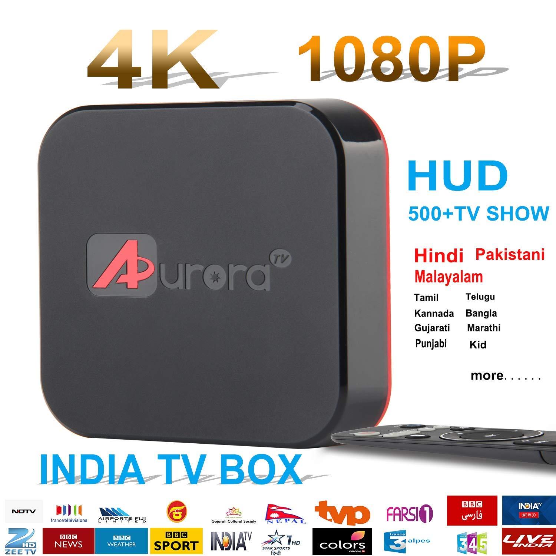 Hindi TV Box, Newest 2018, ANOTEK,4K Ultra HD,Has Almost 500+ TV Channels,Hind, Pakistani, Malayalam, Tamil, Telugu, Kannada, Bangla, Kid, Marathi, Gujarati,Punjabi,etc.Playback-7Days, Android 7.1