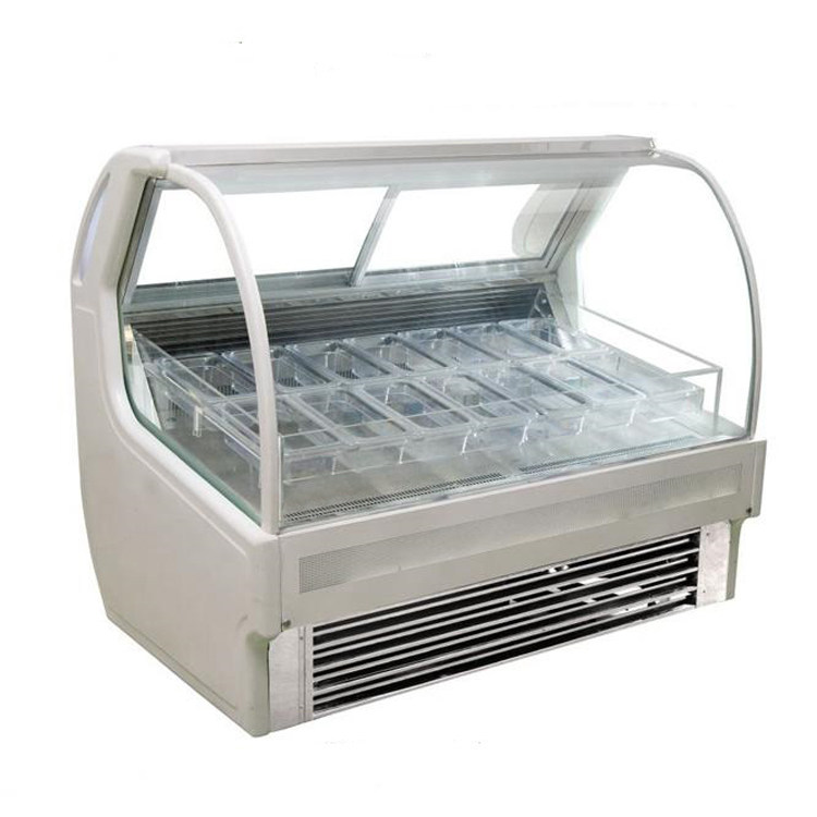 Dessert Shop mobile Hard Ice Cream Display Freezer /Gelato Ice Cream Showcase Freezer  Cart