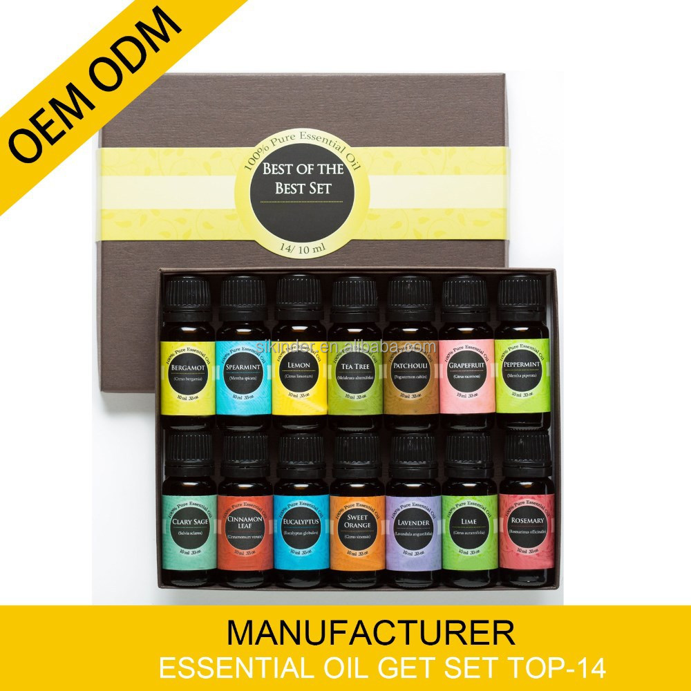 OEM/ODM 100% Natural Pure Essential Oil,aromatherapy gfit set top-14 10ML