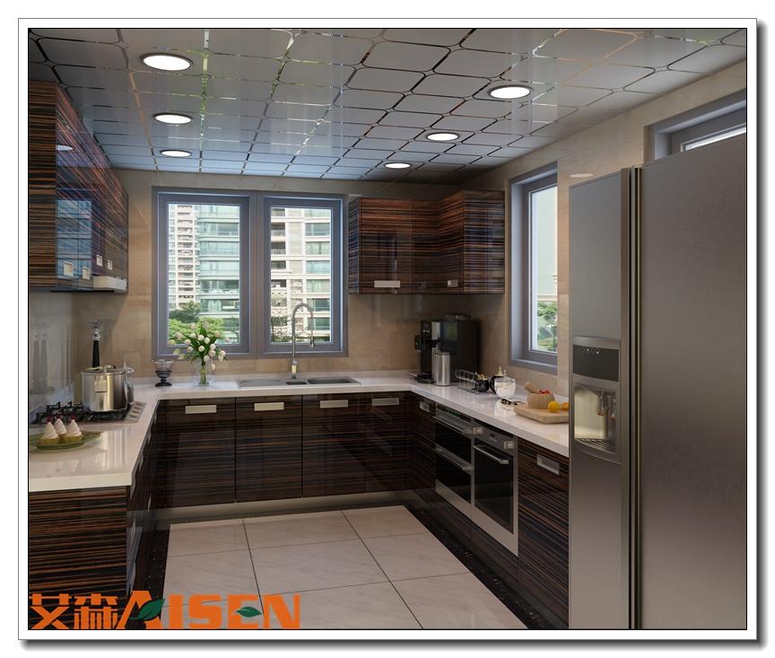 Wholesale Kitchen Cabinet: Wholesale Kitchen Cabinet Set Wood Grain Laminate Kitchen