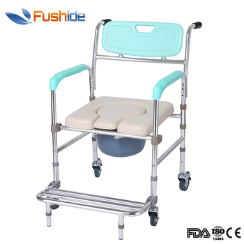 Medical aluminum alloy commode handicapped bath toilet chair