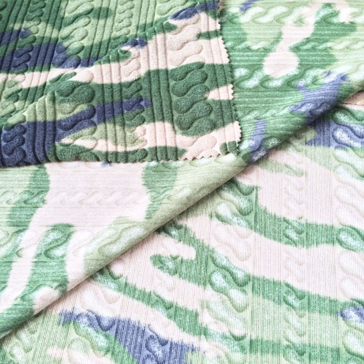 100% Polyester camouflage jacquard polar fleece fabric for blanket