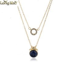 Tailor made Bulk Zinc Alloy Metal Gold color Accessory Brand Necklace Chain with natural stone