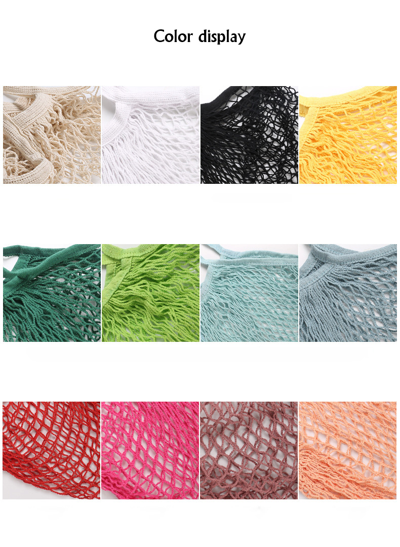 Reusable organic cotton tote mesh shopping string net bag for vegetables and package