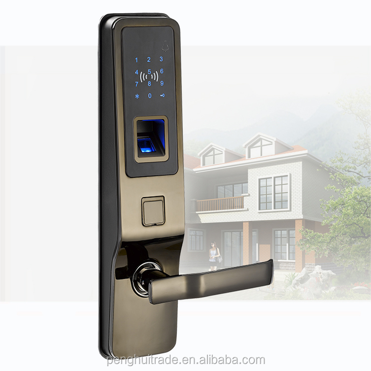 Zinc Alloy touch screen smart digital household fingerprint rfid / id card door lock