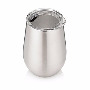 Double Walled Stainless Steel Stemless Wine Glasses with Lids - Set of 2 - Insulated 12 oz Tumbler - Shatter Proof