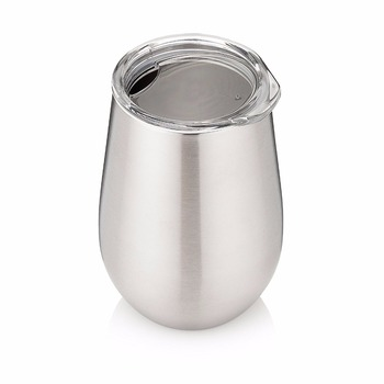 add86ab7f8e Double Walled Stainless Steel Stemless Wine Glasses with Lids - Set of 2 -  Insulated 12