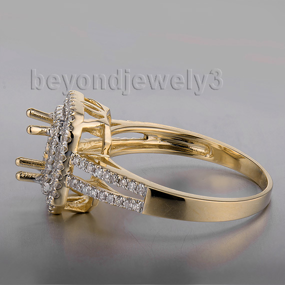 Wholesale Ring Mountings 14k Yellow Gold Emerald Cut 5x7mm