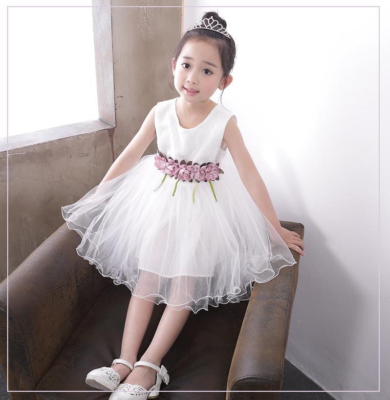 Sleeveless Lace White Boho Girl Princess Dress Up Costumes Of 9 Year Old Kids Wedding Dresses