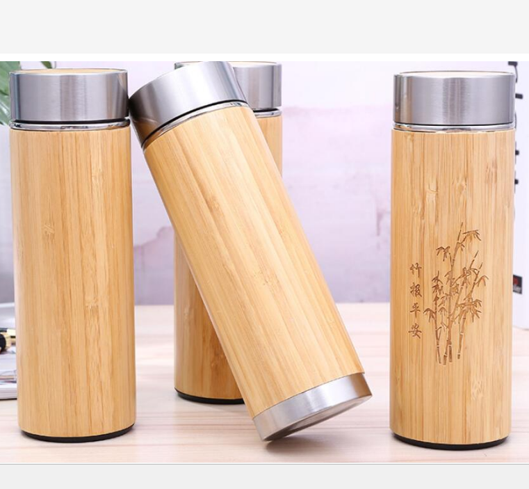 Wholesale Eco-Friendly 304SS ceramic purple inner bamboo travel coffee mug
