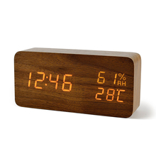 WB MX 1299 BR Fashion electric table clock wooden design LED display alarm clock