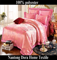 Luxury Jacquard bedding set shiny satin duvet cover set bridal bed sheet set