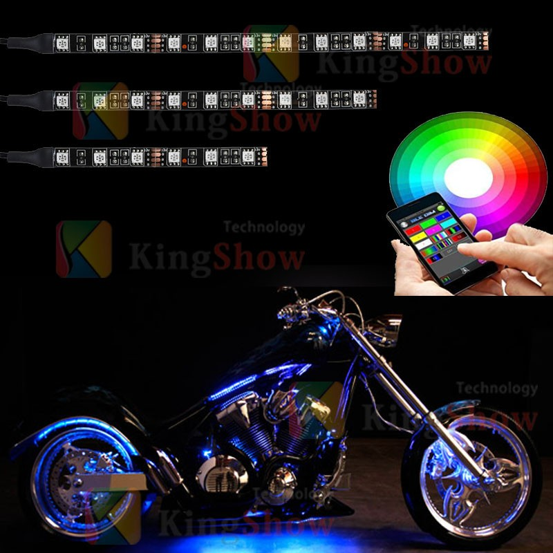 Kingshowstar 12Pcs Motorcycle LED Light Kit Strips Multi-Color Accent Glow Neon Lights Lamp Flexible with Remote Controller