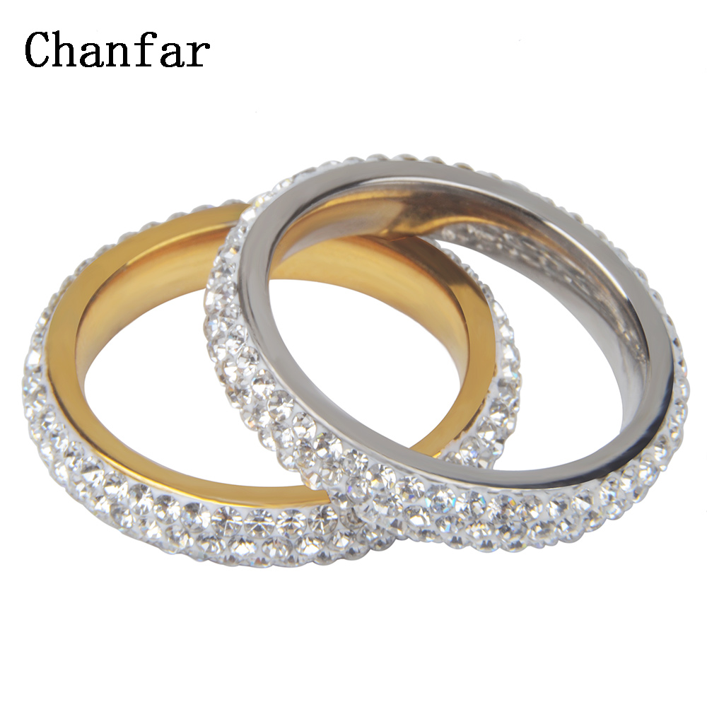 Gold and Steel Color 3 Rows Clay Crystal Paved Stainless Steel Rings