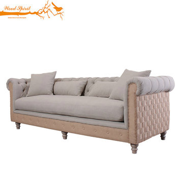 Upholstered Antique Vintage Clical French Provincial Style Furniture Oak Wooden Frame Fabric Chesterfield Living Room Sofa