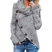 Custom OEM Winter Ladies Heather Gray Buttoned Wrap Turtleneck Women Sweater