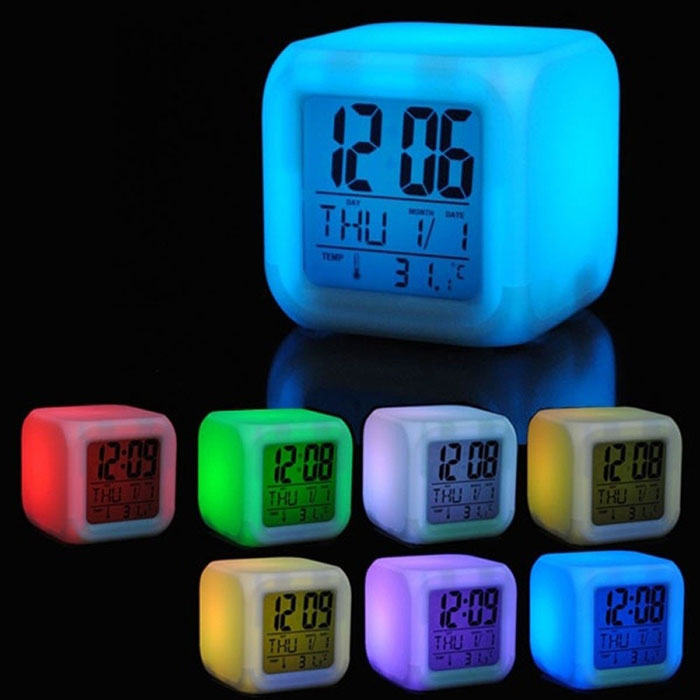 UCHOME LED Cube 7 Farben Nacht Ändern LCD Digital Glowing Datum Thermometer Kalender Display Cube LCD Uhr Kid Wecker