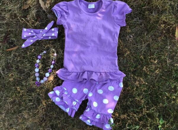 2016 new baby girl purple white dot set outfits with matching necklace and headband set