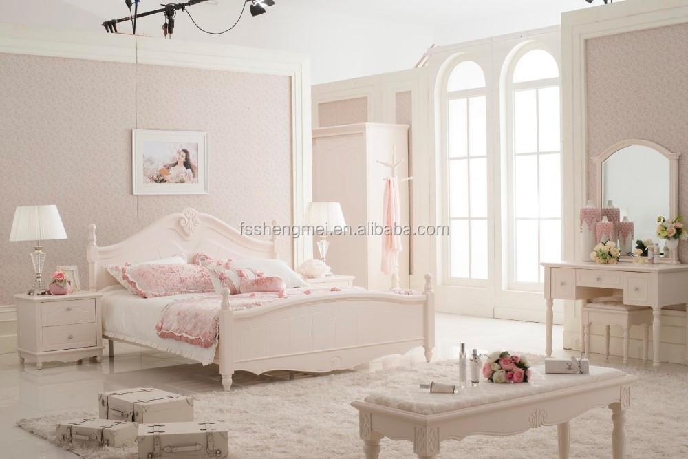 اللون الأبيض أثاث غرف النوم مجموعة العتيقة الملكي مجموعات غرف