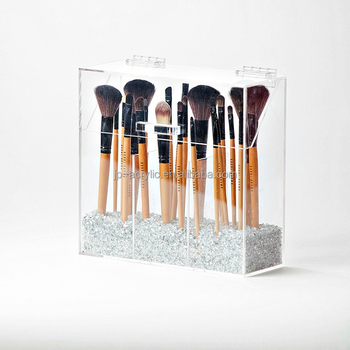 Crystal 3 Compartment Clear Acrylic Makeup Brush Holder With Lid , Buy  Makeup Brush Holder,Brush Holder With Lid,Acrylic Makeup Brush Holder  Product