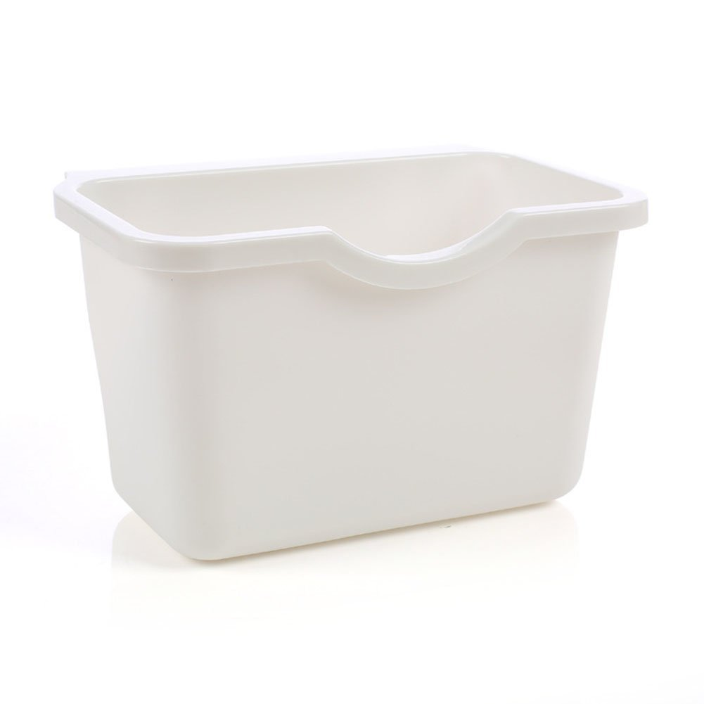 Kitchen Cabinet Door Plastic Basket Reusable Trash Barrel Container Bowls Hanging Trash Can Waste Bins Garbage Box (White)