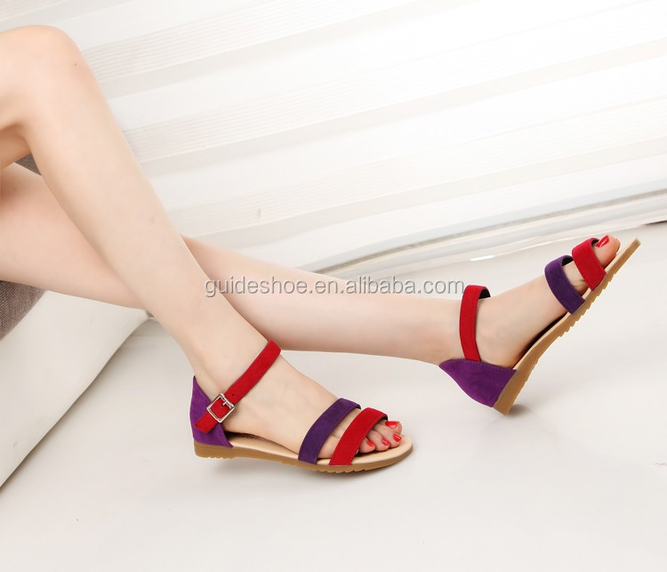 Woman Flat Sandals Black Red Buckle Strap Girls Sandals Very Cheap ...