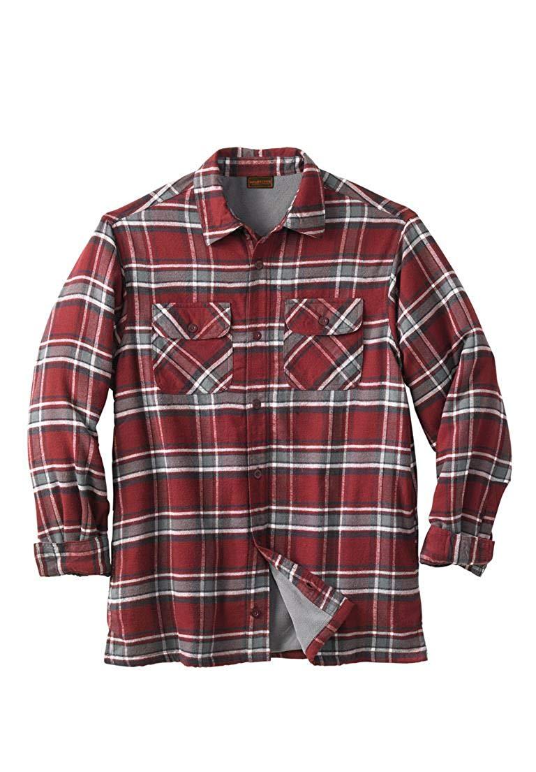 a6a376ae179ab Get Quotations · Boulder Creek Men s Big   Tall Fleece-Lined Flannel Shirt  Jacket …