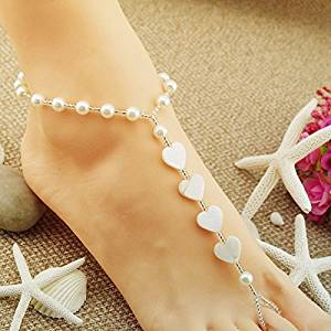 Heart-shaped Wedding Barefoot Sandals, Anklet, Bridal shoes jewelry, Beaded Barefoot Sandals, Bridesmaid Gift, Pearl Sandals