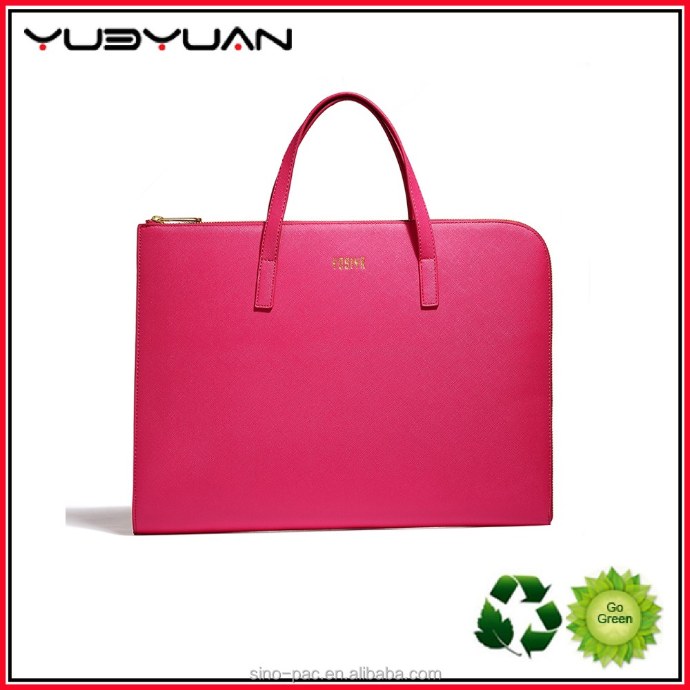 2016 Top fashion simple design pink women handbag pu leather breifcase