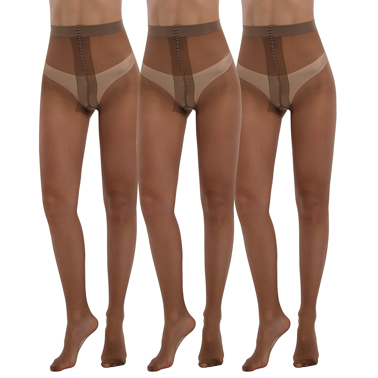 87fd29d72c7 Get Quotations · Women s Plus Size Tights 3packs 20 Denier Sheer to Waist T  Crotch Run Risistance Nylons