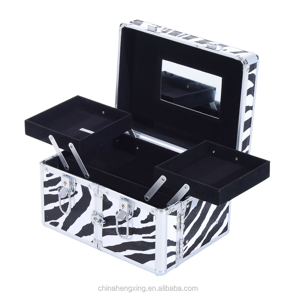 professional zebra pattern aluminum makeup vanity box case with lock