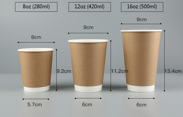 16 oz disposable insulated kraft triple wall paper coffee cup