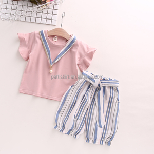 Summer Child clothes set girls clothing flying sleeves round neck t shirt baby striped wide leg pants two piece
